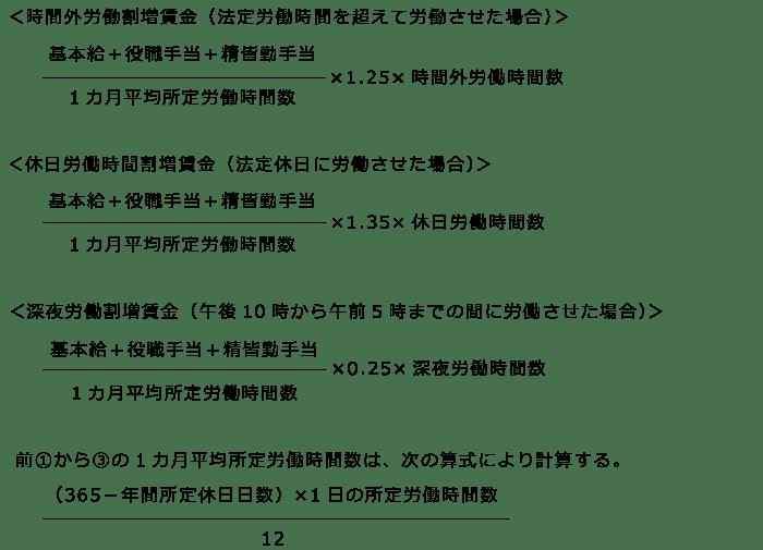 時間外労働・深夜労働・休日労働の割増賃金(月給制の場合) 記載例